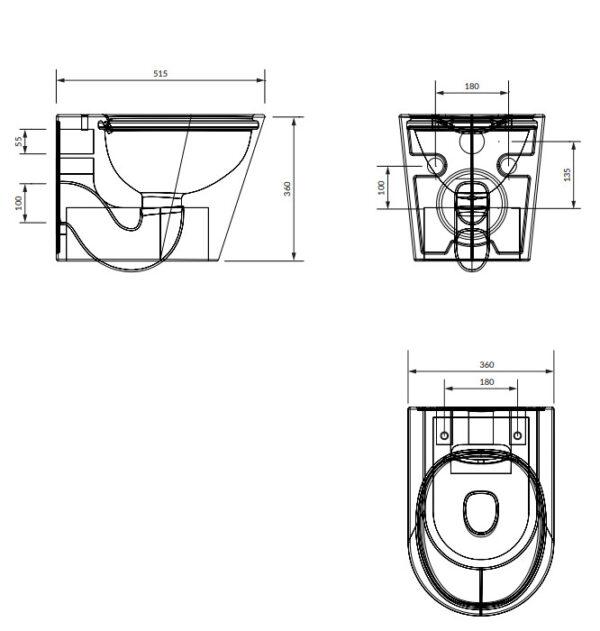 Zdjęcie Miska WC wisząca 51,5×36 cm + deska WC wolnoopadająca Omnires Tampa biały TAMPAMWBP