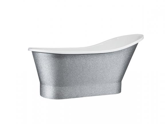 Wanna wolnostojąca srebrna Besco Gloria Glam 150x66 cm srebrny WMD-150-GLS
