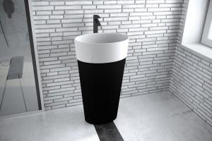 Zdjęcie Umywalka wolnostojąca Besco Uniqa B&W 32x46x84 cm czarny/biały UMD-U-WBW