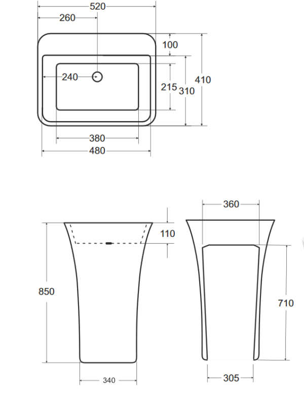 Zdjęcie Umywalka wolnostojąca grafitowa Besco Assos S-line Glam 40x50x85 cm grafitowy UMD-AP-WOG
