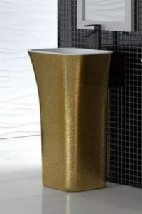 Zdjęcie Umywalka wolnostojąca złota Besco Assos Glam 40x50x85 cm złoty UMD-A-WOZ
