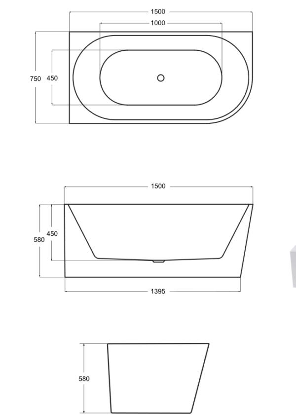 Zdjęcie Wanna wolnostojąca przyścienna lewa Besco Zoya 150×75 cm biały WAS-150-ZL
