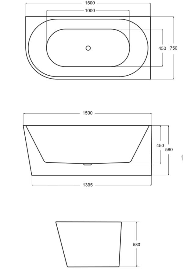 Zdjęcie Wanna wolnostojąca przyścienna prawa Besco Zoya 150×75 cm biały WAS-150-ZP