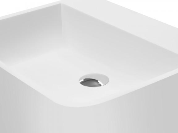 Zdjęcie Umywalka nablatowa Besco Assos S-line 40x50x15 cm biały UMD-AP-NB