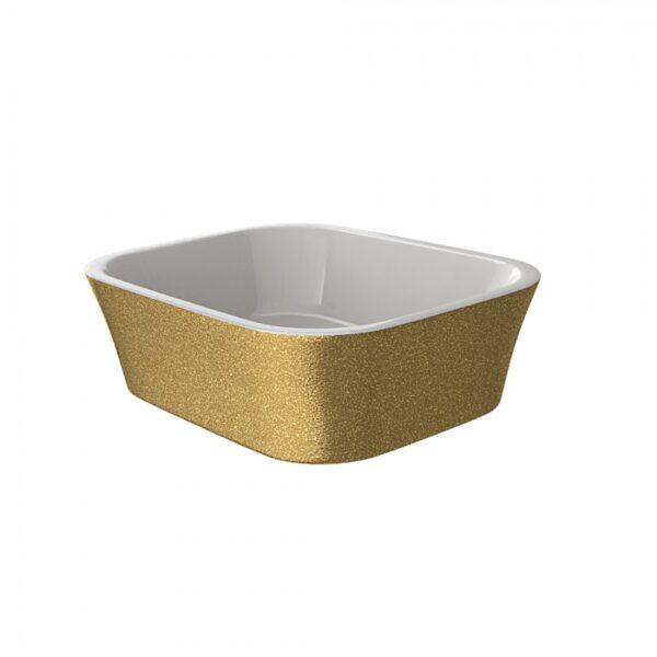 Zdjęcie Umywalka nablatowa złota Besco Assos Glam 40x50x15 cm złoty UMD-A-NBZ