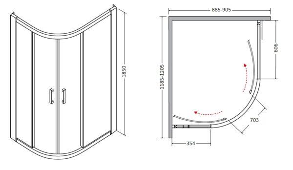 Zdjęcie Kabina asymetryczna mrożone szkło Besco Modern 120x90x185 cm MA-120-90-M