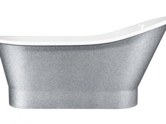 Zdjęcie Wanna wolnostojąca srebrna Besco Gloria Glam 150×66 cm srebrny WMD-150-GLS