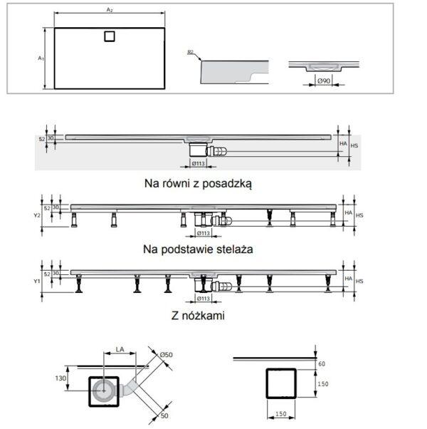 Zdjęcie Brodzik kwadratowy konglomeratowy Huppe EasyFlat 90×90 cm biały EF0101055